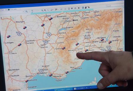 Mapa de geolocalización Transics